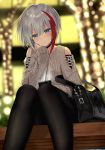1girl admiral_graf_spee_(azur_lane) aran_sweater azur_lane bag bangs black_choker black_legwear black_skirt blue_eyes blurry blurry_background blush cellphone chin_rest choker christmas christmas_lights closed_mouth commentary_request depth_of_field feet_out_of_frame grey_hair grey_sweater hair_between_eyes head_tilt highres holding holding_phone jewelry kinokorec knees_together_feet_apart light long_sleeves looking_at_viewer miniskirt multicolored_hair pantyhose phone red_hair ring short_hair shoulder_bag shoulder_cutout sidelocks sitting skirt sleeves_past_wrists smile solo streaked_hair sweater