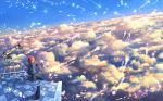 1girl :d ^_^ above_clouds animal arm_support bangs black_cat blue_dress blue_sky capelet cat closed_eyes cloud cloudy_sky commentary_request cup day diffraction_spikes dress dutch_angle eyes_closed facing_viewer feathers holding holding_cup long_sleeves looking_back magic mug open_mouth original outdoors red_hair sakimori_(hououbds) scenery short_hair sidelocks sitting sky smile solo sunlight telescope wide_shot