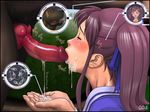 bestiality blush cum cum_drip cumdrip dog dog_blowjob dog_cum eyes_closed facial fellatio jukan_ace_origin_no_1 knot oral penis purple_eyes purple_hair ribbon school_uniform serafuku sperm yoshino_momiji yosino zoo zoophilia