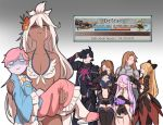 1boy 6+girls ahoge aircraft airship armor arrow bags_under_eyes beatrix_(granblue_fantasy) bikini black_hair blank_eyes blonde_hair blouse bow breasts brown_hair carrying character_request commentary crying defeat earrings eyes_closed flower frills garter_belt gloves gradient gradient_background granblue_fantasy hair_bow hair_flower hair_ornament handkerchief heart helmet holding holding_helmet horns jewelry katalina_aryze komeiji_satori leaf_hair_ornament long_hair long_sleeves mefomefo multiple_girls narmaya_(granblue_fantasy) navel octopus open_mouth pink_hair purple_hair salute shaded_face shirou_(granblue_fantasy) short_hair shorts simple_background skirt slippers swimsuit tan tears text_focus thighhighs touhou very_long_hair vira_lilie white_hair wide_sleeves zooey_(granblue_fantasy)