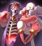 2boys ainz_ooal_gown black_cloak cloak dark_background dated gloves glowing glowing_eyes highres hood hooded_cloak looking_at_viewer male_focus multiple_boys one_eye_closed overlord_(maruyama) papyrus_(undertale) red_eyes red_gloves red_scarf ribs scarf skeleton standing thumbs_up trait_connection undertale upper_body xia_siren