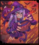 :t bat black_border blush border claws closed_mouth commentary commentary_request dragon_girl dragon_horns dragon_tail dress english_commentary fewer_digits floating hair_between_eyes halloween hat horns long_hair long_sleeves looking_at_viewer monster_girl monster_girl_encyclopedia purple_dress purple_hair purple_hat ramenwarwok red_eyes signature simple_background tail tentacle tentacles witch_hat