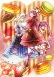 bad_id bad_pixiv_id basket blue_eyes bow candy cherry closed_eyes cookie doughnut dress flower food fruit glasses grey_hair hair_bow hair_flower hair_ornament hair_ribbon hat highres long_hair macaron mismatched_legwear multiple_girls original pancake pastry purple_hair ribbon smile socks standing standing_on_one_leg tea tongue tsukudato twintails very_long_hair yellow_eyes