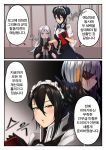 3girls agent_(girls_frontline) black_hair cellphone character_request colored_tips comic dark_skin double_bun elisa_(girls_frontline) girls_frontline highres korean long_hair maid_headdress multiple_girls phone saliva sangvis_ferri silver_hair smartphone translation_request yellowseeds