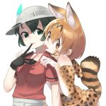 2girls animal_ears bare_shoulders black_gloves blonde_hair blush bow bowtie cheek-to-cheek elbow_gloves gloves hands_on_another's_shoulders helmet highres kaban_(kemono_friends) kemono_friends multiple_girls pith_helmet red_shirt sakoku_(rh_ty_ks) serval_(kemono_friends) serval_ears serval_print serval_tail shirt tail tongue tongue_out