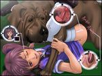 1girl bestiality blush dog flat_chest jukan_ace_origin_no_1 knot knotted knotted_penis legs_up missionary one_eye_closed open_mouth penis purple_eyes purple_hair school_uniform serafuku sex smile thighhighs twintails vaginal white_legwear wince wink x-ray yoshino_momiji yosino zoophilia