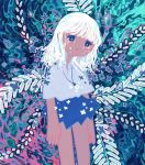 1girl abstract absurdres antennae bangs blue_eyes blue_skirt collared_shirt flower glowing half-closed_eyes highres jewelry leaf medium_hair necklace no_nose original shirt short_sleeves sizucomaru skirt solo white_hair white_shirt