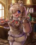 1girl :d alpaca_ears alpaca_suri_(kemono_friends) alpaca_tail animal_ears bangs blonde_hair blurry blurry_background bodystocking breast_pocket coffee_pot commentary_request cup day drink eyebrows_visible_through_hair fur-trimmed_sleeves fur_scarf fur_trim hair_bun hair_over_one_eye hands_up highres holding holding_pot holding_tray indoors kemono_friends light long_sleeves looking_at_viewer medium_hair neck_ribbon open_mouth pocket purple_eyes ribbon scarf shiitake_fuumi shorts smile solo standing sweater_vest tail tongue tray upper_body window